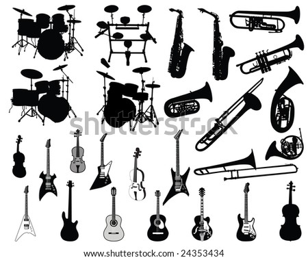 Big Set of Different Kind of Musical Wind, Stringed and Percussion Musical Instruments Silhouettes. High Detail, Very Smooth. Vector Illustration.