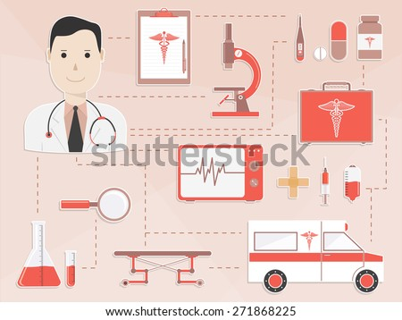 Big set of different Medical elements with illustration of a smiling doctor for Health Care concept. - stock vector