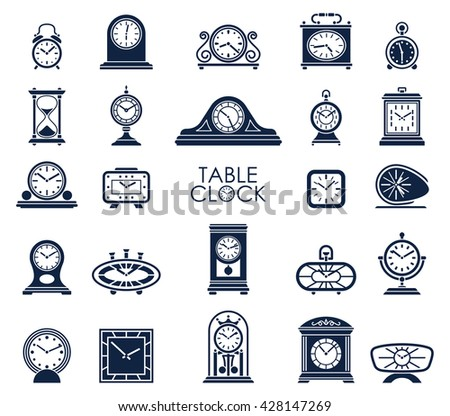 Big set of different vector table clock icons