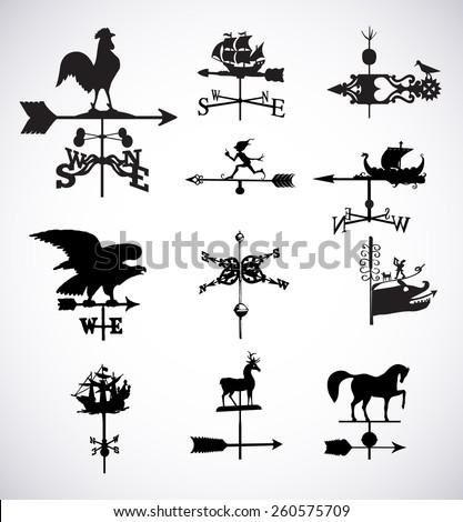 Big set of different weather vanes.Vector illustration - stock vector