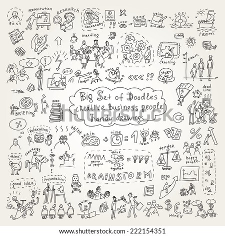 Big set of doodles creative business people icons - stock vector