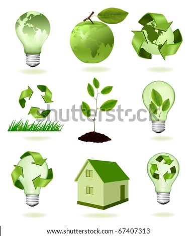 big set of ecology icons. Vector. - stock vector