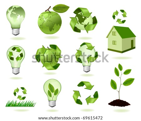 Big set of ecology icons. Vector illustration. - stock vector