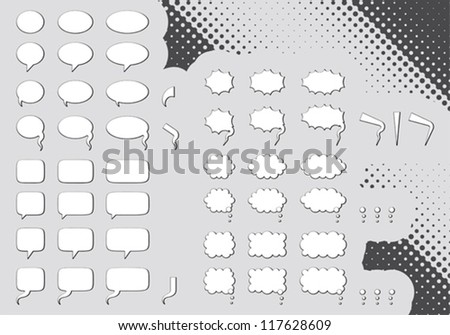 Big set of editable comic clouds or bubbles - stock vector