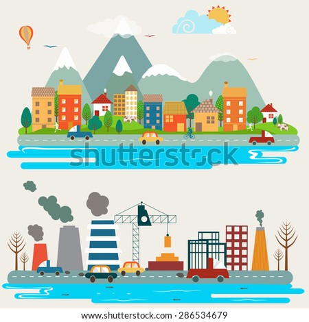 Big set of environmental infographic elements with creative illustration of industrial city view. - stock vector