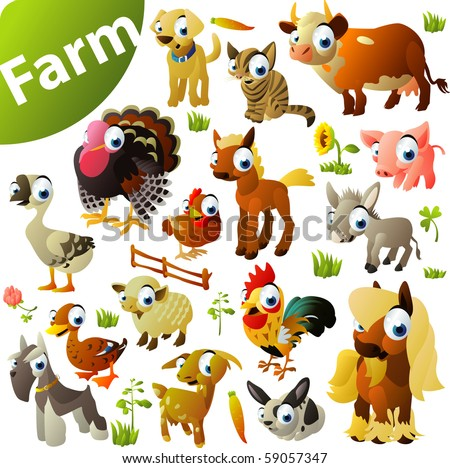 big set of farm animals - stock vector