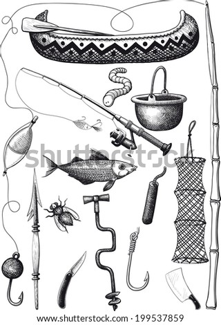 Big set of fishing equipment consisting of a rod, bait, tackle and accessories. - stock vector