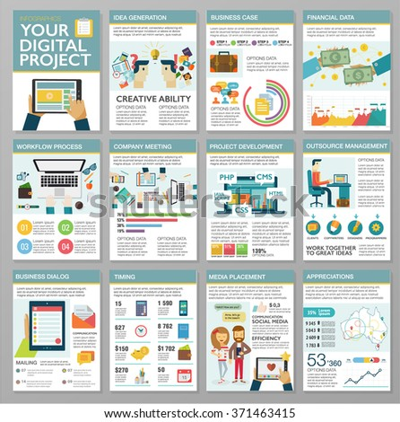 Big set of flat design infographic elements. Creating digital web project, customer service, client support, teamwork cooperation process, marketing vision, idea solution, success business management - stock vector