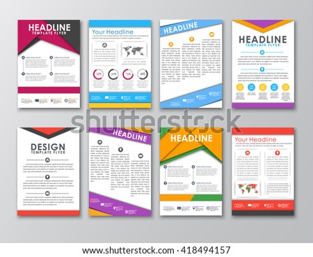 Big Set Flyers Brochures Posters Style Stock Vector 418494157