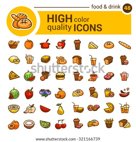 Big set of food icons and stickers designed for mobile applications and websites. - stock vector