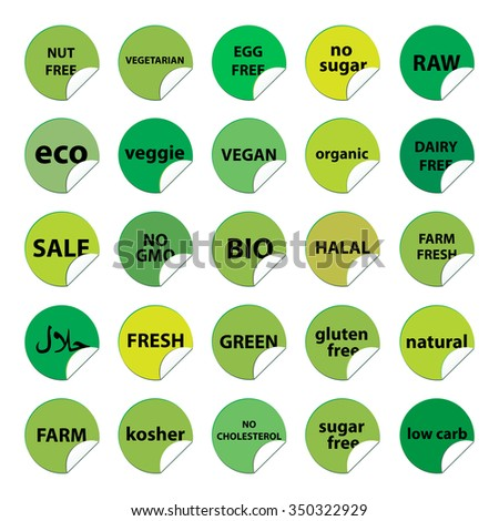 Big set of food stickers. Round peel labels. Vegetarian, Eco, Farm, Organic, Halal, Gluten free, Sugar free, Nut free, Egg free food and others. Green nutrition concept.