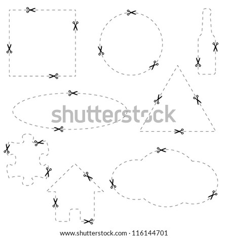 Big set of forms for cutting on a white background - stock vector
