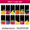 Big set of fruit tags. To see similar,  please VISIT MY PORTFOLIO  - stock vector
