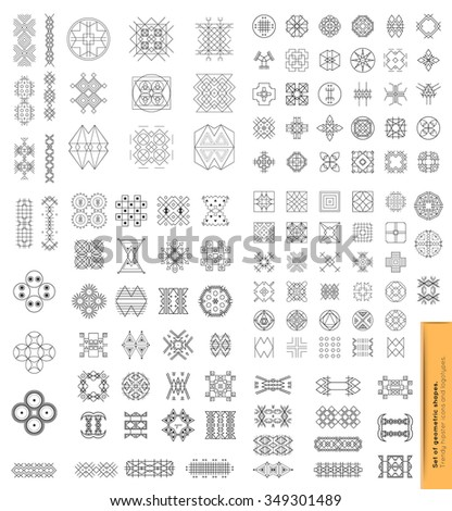 Big Set of 100 geometric shapes. Trendy hipster icons and logotypes. Religion, philosophy, spirituality, occultism symbols collection