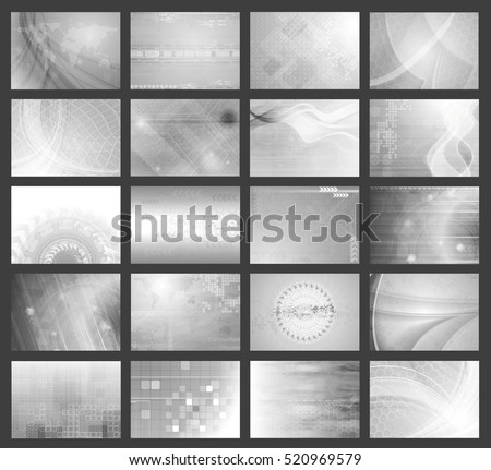 Big set of grey tech geometrical backgrounds. Vector illustration eps 10