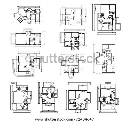 big set of groungfloor blueprints. vector illustration - stock vector