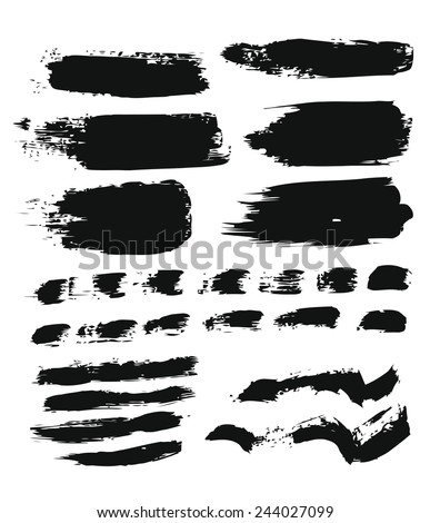 Big set of grunge brush strokes. Vector elements for your design - stock vector