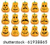 Big set of 15 Halloween pumpkins with  mouths, eyes and noses as Jack O`Lantern face, part 14, vector illustration - stock vector