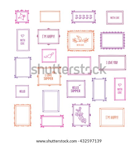 Big set of hand drawn decorative square vintage photo frames. Doodles, sketch for your design. Isolated on white. Vector illustration.  - stock vector