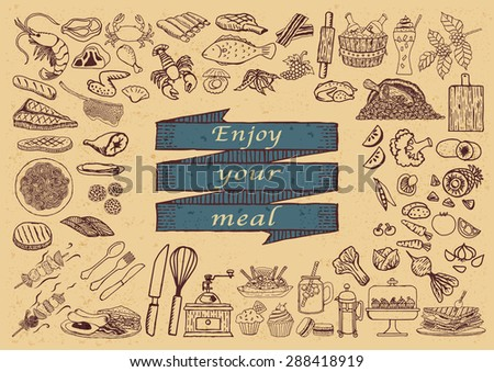 Big set of hand drawn restaurant icons with the phrase ENJOY YOUR MEAL on hand drawn ribbon. - stock vector