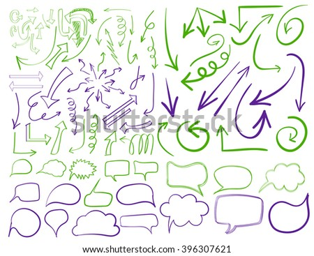 Big set of 83 hand drawn VECTOR arrows and word bubbles in blue and yellow colors. Colored icons isolated on white. Green and Purple.