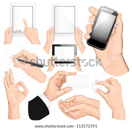 Big set of hands. vector illustration - stock vector