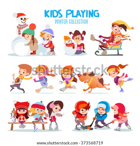 Big set of happy cartoon kids playing outdoors in winter. Kids making snowman,riding sled,running together,playing hockey,snowballs and figure skating. Kids icon set isolated on white background - stock vector