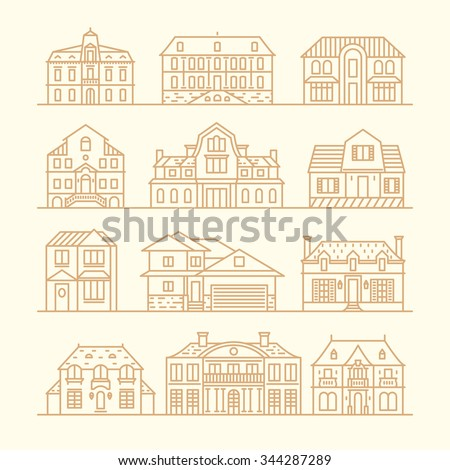 Big set of houses icons, design elements, vector illustration, trendy linear style. - stock vector