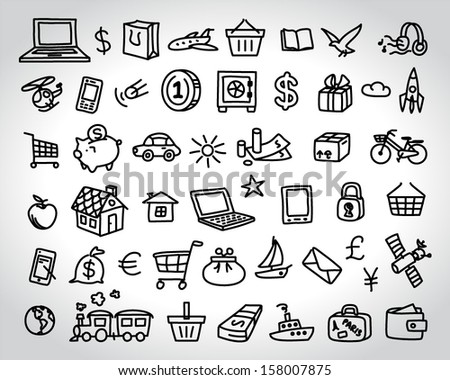 big set of icons doodle sketch - stock vector