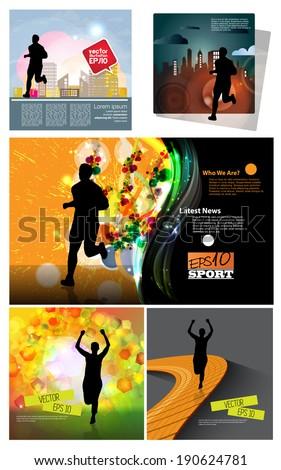 Big set of illustration marathon runner, vector  - stock vector