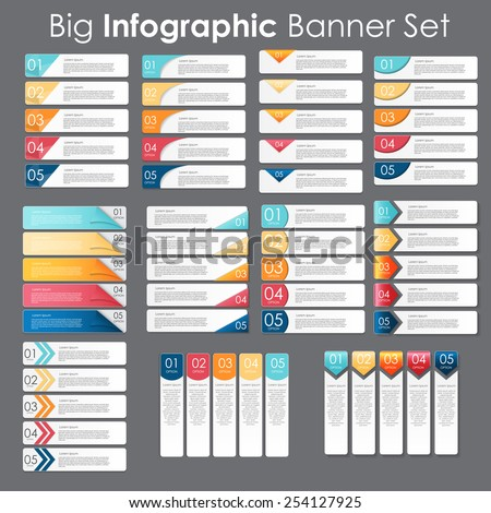 Big Set of Infographic Banner Templates for Your Business Vector Illustration - stock vector