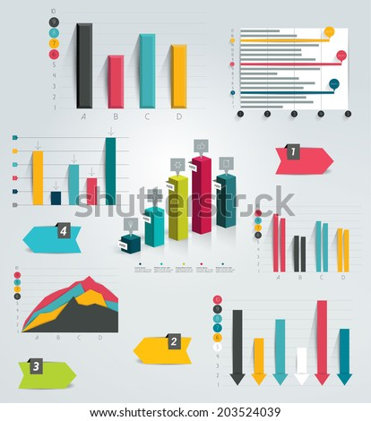 Big set of infographic charts. Vector. - stock vector
