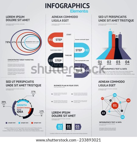 Big set of infographic elements. Flat style. Vector - stock vector