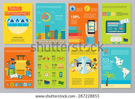 Big set of infographics elements about travels. Quality design illustrations, elements and concept. Advertising banners. Planning trip. Hotel booking. Use in corporate report, presentation, website. - stock vector