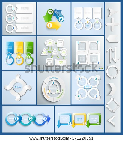 Big set of infographics elements - arrows, schemes, charts in paper style for your design. - stock vector
