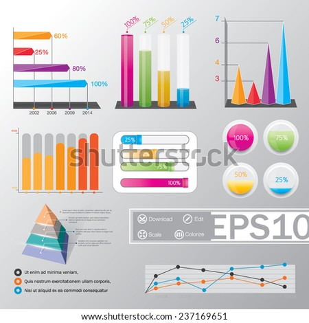 Big set of infographics elements. EPS10 Vector illustration. Collection of Infographic Templates for workflow layout, diagram, number options, web design, business presentation, brochure, booklet. - stock vector