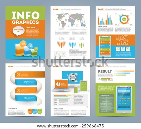 Big set of infographics elements in modern business style, IT infochat. Tree colors. Presentation template. Use in website, flyer, corporate report, presentation, advertising, marketing, print. A4 - stock vector
