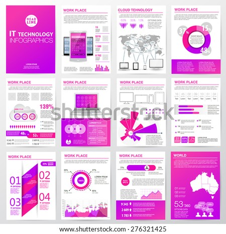 Big set of infographics elements in modern business style. Vector illustrations of modern infographics about IT. Use in website, flyer, corporate report, presentation, advertising, marketing. A4 - stock vector
