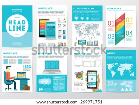 Big set of infographics elements in modern flat business style.  - stock vector