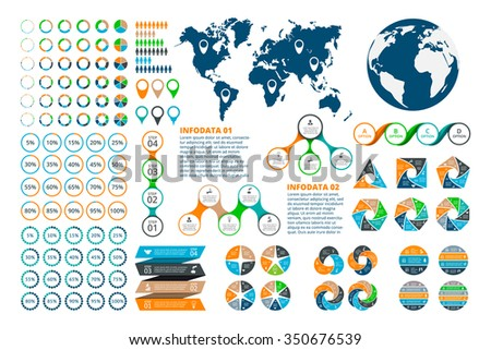 Big set of infographics elements. Template for diagram, graph, presentation and chart. Business concept with 3, 4, 5, 6, 7 and 8 options, parts, steps or processes. - stock vector