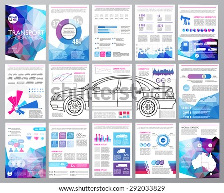 Big set of infographics elements, transportation infographics. Easy to edit map of Australia. Polygonal style. Use in website, flyer, corporate report, presentation, advertising, marketing. A4 - stock vector