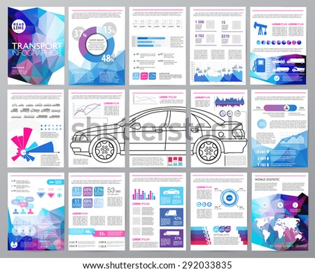 Big set of infographics elements, transportation infographics. Easy to edit map of World. Polygonal style. Use in website, flyer, corporate report, presentation, advertising, marketing. A4 - stock vector