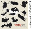 Big set of ink stains - stock vector