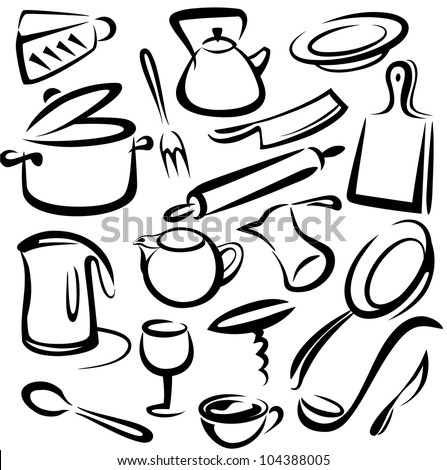 15 Kitchen Utensils Sketch : Cooking Utensils Drawing Big set of kitchen tools .