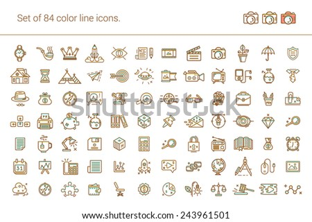Big set of linear icons. Business and finance, shopping, web, media, photos and videos, office, protection, home, study, school, education, sales, social, seo, paper files. - stock vector