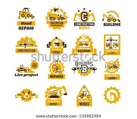 big set logos on theme construction stock vector 2018 534882484 rh shutterstock com equipment logistics equipment log book