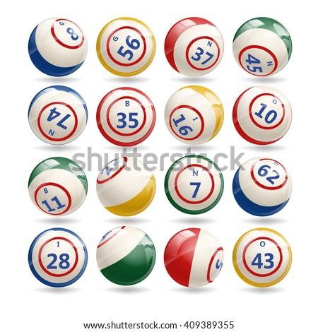 Big Set of Lottery Bingo Billiard Balls with numbers. Bingo colorful balls set isolated on white background. Bingo games. Bingo night. Bingo balls. - stock vector