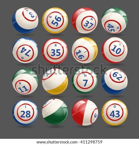 Big Set of Lottery Bingo Keno  Balls - stock vector