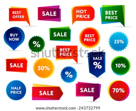 Big set of modern colorful sale banners. - stock vector