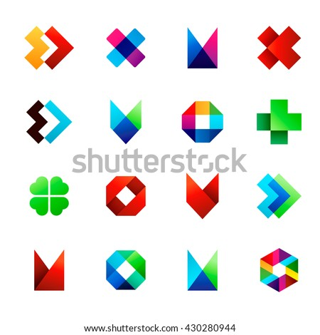 Big set of modern icon design elements. Best for identity and logotypes.  Editable.